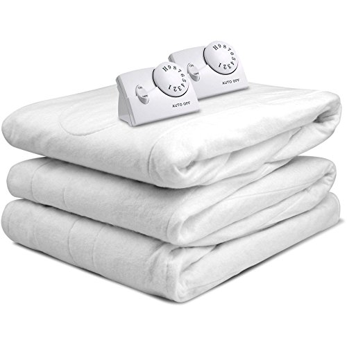 Heated Mattress Pad. Best Comfort Hypoallergenic White Topper Pillow For Deep Healthy Sleep. Firm Protection Cover, Protects Bed From Stains, Dirt, Dust & Wetness. w/ Timer. (King)