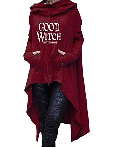 Rfecccy Women's Good Witch Tunic Casual Long Sleeve Pullover Irregular Hem Hoodies Red