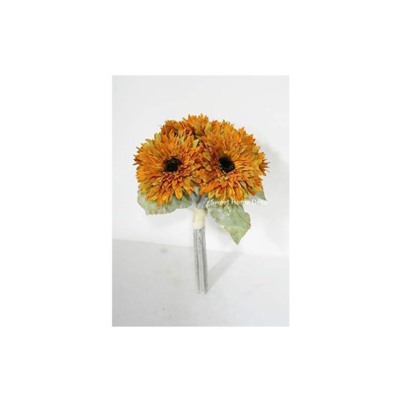silk flower arrangements sweet home deco 10'' silk artificial gerbera daisy bouquet (w/ 6 stems, 6 flower heads), wedding/home decorations, large autumn daisies,