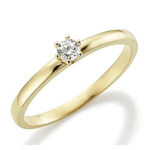 Verlobungsring Weißgold 6 Krappen Ehering Engagement Ring Antragsring Neu in 585 und in 333 375 Ehering Verlobung Gold Brillant Schliff Zirkonia Günstig Diamant (14 Karat (585) Gelbgold, 62 (19.7))
