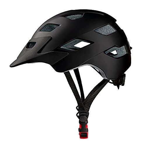Casco de Bicicleta para Adultos liviano con Visera Desmontable, Cascos de Bici certificación CE, Cascos de Ciclismo para Hombres y Mujeres Universal 57-62 cm Black