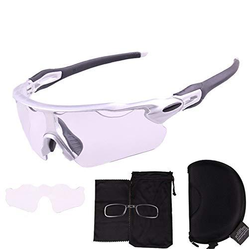 Fahrradbrille Farbe Radbrille Bewegung gegen den Außenbereich, Radfahren, Mountainbike, Rennrad, Radfahren, Sonnenbrille, Sonnenbrille für Männer und Frauen, Outdoor-Sonnenbrille, silber, Free Size