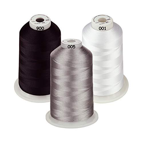 Simthread - Juego de bobinas de hilo de poliéster para máquina de bordado, colores clásicos, blanco, negro y gris, para Brother, Babylock, Janome, Kenmore, Singer, W6 N