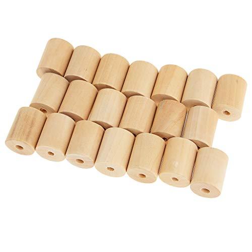chiwanji 20er Pack Holzrohr Blöcke Mit Löchern Unvollendete Massivholz Zylinder Perlen Für DIY Handwerk Und Bauprojekte (3 Größen Zur Auswahl) - Holz, 20x25mm