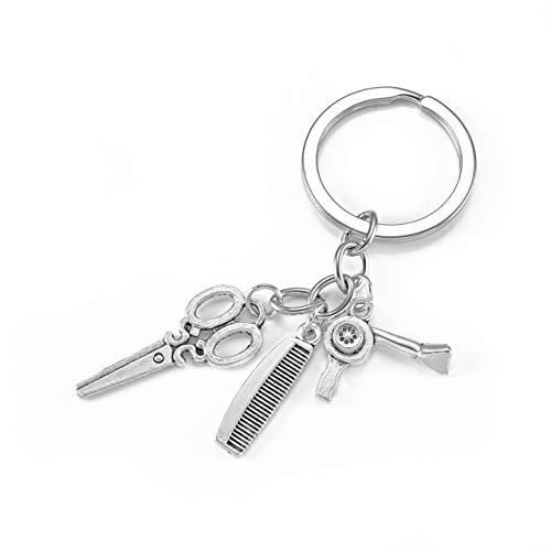 JOVIVI 3 in 1 Schönheitssalon Tools Friseur Schlüsselanhänger Haartrockner Schere Kamm Anhänger Keychain Schlüsselring