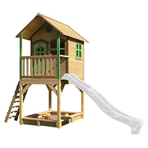 AXI Spielhaus Sarah mit Sandkasten & weißer Rutsche | Stelzenhaus in Braun & Grün aus FSC Holz für Kinder | Spielturm mit Wellenrutsche für den Garten