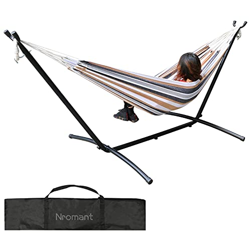 Double Hammock with Space Saving Steel Stand (450 lb Capacity - Premium Carry Bag Included) - for para Patio, Indoor and Outdoor (Coffee/Blue Stripes)