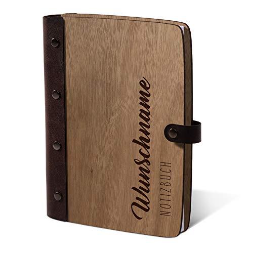 Notizbuch Holzcover individuelle Gravur mit Echtleder Rücken 72 Blatt | 144 Seiten A5 hoch 158x222mm Okoume Holz - Name schlicht