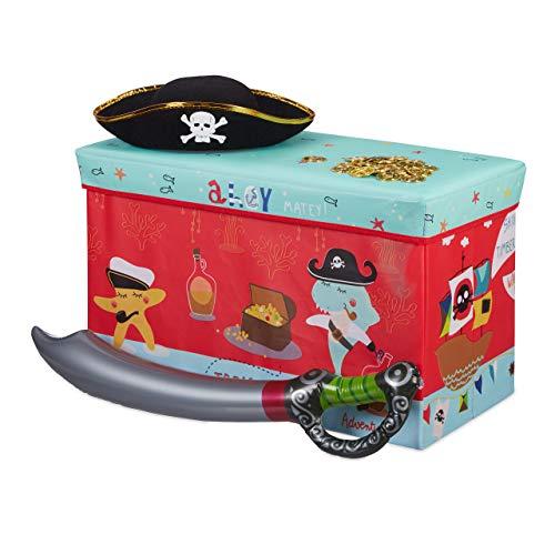Relaxdays Baúl para Juguetes, Taburete Infantil, Plegable, para niños y niñas, Piratas,...