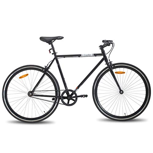 Hiland Road Hybrid Bike Urban City Commuter Bicycle for Men 700C Wheels with Single-Speed Black 50CM