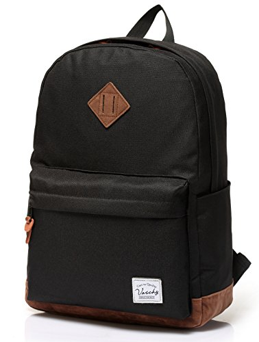 Backpack for Men,Vaschy Unisex Classic Water-resistant College School Backpack Bookbag Laptop Backpack Black
