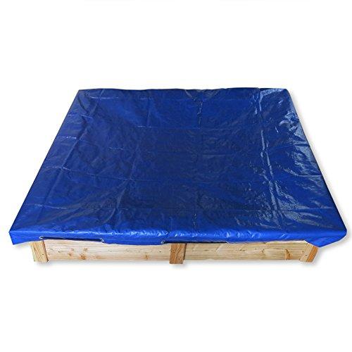 Gartenpirat Sandkasten 150x150 mit aus Holz Lärche mit Abdeckung Plane blau