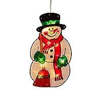 クリスマス LED ライト デコレーションライト ハンギングライト サンタクロース 雪だるま クリスマスツリー 壁灯 電池式 再利用可能 PVC サクションカップ付き ウィンドウライト クリスマス 飾り