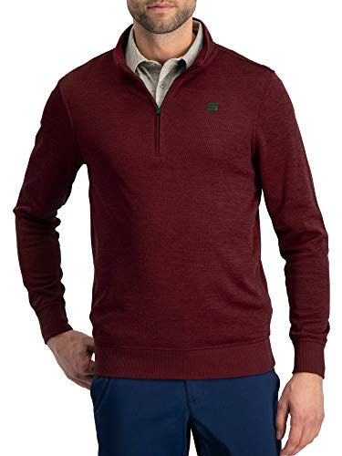 Dry Fit Pullover Sweaters for Men - Quarter Zip Fleece Golf Jacket - Tailored Fit Maroon