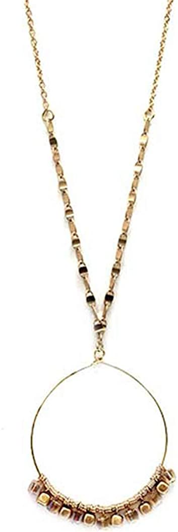 Fashion Jewelry ~ Metal Seed Bead Hoop Pendant Long Goldtone Necklace for Women Teens Girlfriends Birthday Gift