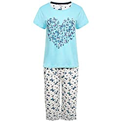 Ladies 'Suzy & Me' 100% Cotton Jersey Pyjamas Short Sleeved Duck Egg Top with Pretty Heart Shaped Butterfly Motif Cropped Leg Ivory Bottoms with All Over Butterfly Print Perfect For Sleeping or Lounging. Ideal for Holidays Lovely Mothers Day Gift Ide...