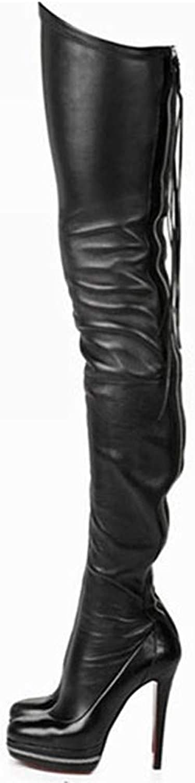 NAFTY Damenschuhe Damenschuhe Damenschuhe Stiefel Stiefel Stretch Leder Overknee High Damen Party High Heels Plateauschuhe Frau Schwarz Plus Größe  9378f4