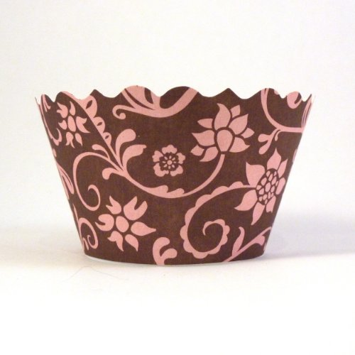 Bella Couture Hannah Floral Cupcake Wrappers, Pink/Brown, 50-Pack Bulk