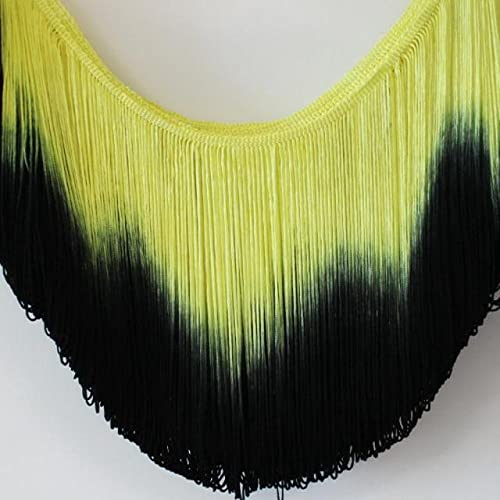 LeoCraft 3 Yds Latin Fringe Tassel Ombre Chainette Fringes Dance Macrame Tutu Trimming Rayon Sewing Lace Trimming Samba 25-30CM - 25CM Long Fringe - Sewing Fringe Trim