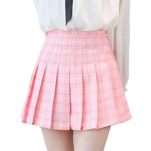 Women Girls Juniors Japan School Uniform Skirts with Shorts Inside Vintage Pleated A-line Midi Skirts (Pink, S)