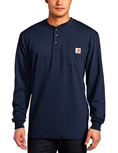 Carhartt Men's Workwear Pocket Henley Shirt (Regular and Big & Tall Sizes), Navy, 3X-Large