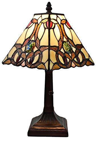 Tiffany Style Mini Accent Lamp Floral Mission 16' Tall Stained GlassBrown Red Vintage Antique Light Décor Night Stand Living Room Bedroom Handmade Gift AM338TL08 Amora Lighting, Multicolor