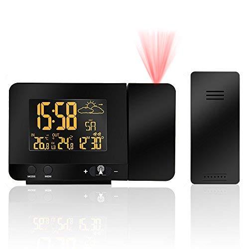 Réveil avec Projection, Protmex PT3531B Horloge d'alarme de projection numérique avec la station météorologique de température, Thermomètre intérieur/extérieur, affichage à cristaux liquides réglable, charge d'USB, double alarme
