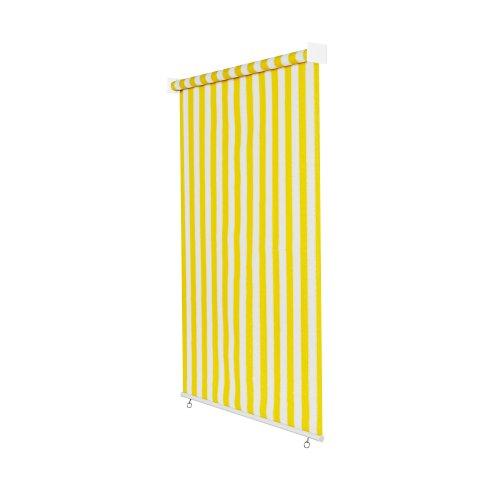 jarolift Außenrollo Senkrechtmarkise 240 x 240 cm (BxH) Gelb - Weiss, Sonnenschutz Sichtschutz für Balkon Terrasse