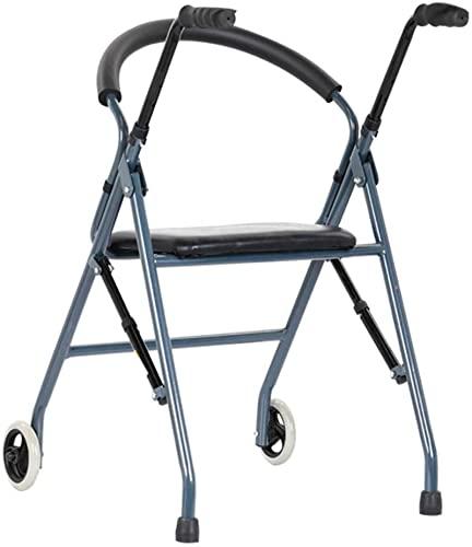 Seniors plegables Rolling Walker con asiento y 2 ruedas, Ayuda de altura ajustable portátil para interiores exteriores