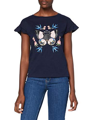 Springfield Camiseta Gráfica Mariposa T-Shirt, Azul, S Womens