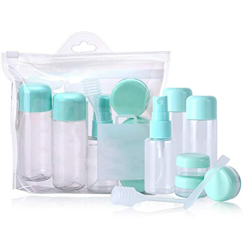 Macabolo 8Pcs Frauen Kosmetikflaschen Set, nachfüllbare Toilettenartikel Behälter Leckproof Creme Flaschen mit Spray-Flasche für flüssiges Shampoo