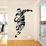 Sticker mural 56x36 cm grand joueur de rugby sport autocollant mural chambre chambre salle de jeux football football athlète sticker mural chambre d'enfant vinyle décor