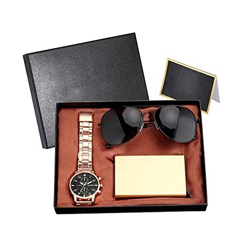 MGPLBYA Conjunto de Regalo Bellamente Moda Hombres de Cuarzo Reloj Caja de la Tarjeta de Gafas de Sol Conjunto con Tarjeta de Regalo de Caja de Alto Grado Negro (Color: B) (Color : A)