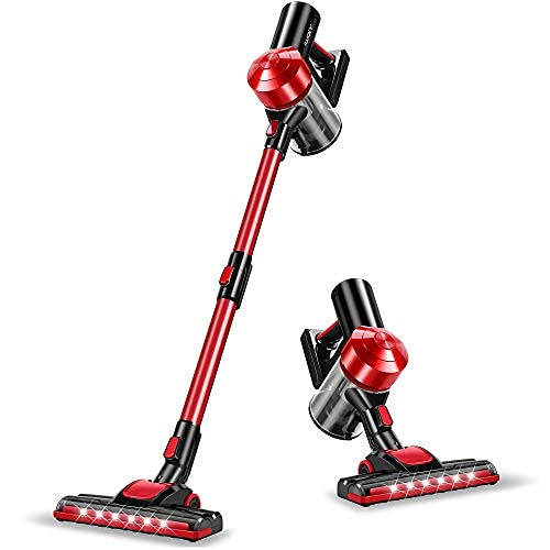 iwoly C150 Cordless Vacuum Cleaner Rechargeable with 2200mAh Detachable Battery, 15KPa Cyclone Vacuum with HEPA Filter, 3 Modes, Portable Handheld Stick Vacuum for Hard Floors
