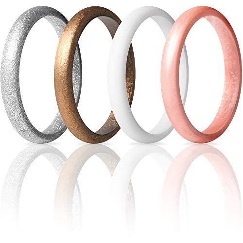 ThunderFit Women's Thin and Stackable 4 Pack Silicone Rings Wedding Bands 2.5mm Width - 2mm Thick (Rose Gold, Silver, White, Women Bronze, 8.5 - 9 (18.9mm))