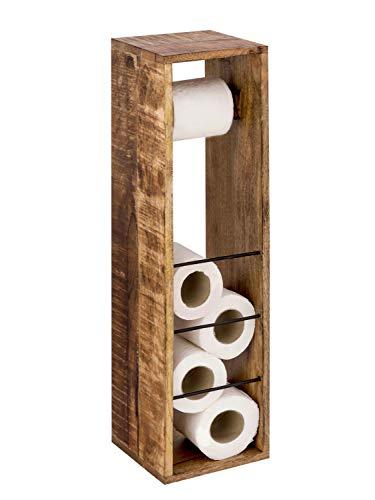 casamia Toilettenpapierhalter 2. Wahl Toilettenpapierständer aus Holz 17 x 17 cm quadratisch Hocker Mangohol