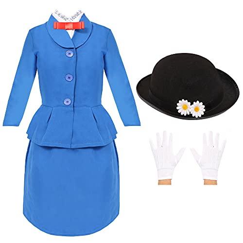 Flickor magisk viktoriansk flicka kostym Mary fin klänning värld bok dag/bok vecka karaktär för flickor. JACKA + kjol + kjol + tröja + dagshatt + handskar + skinn väska. Storlek: X-stor