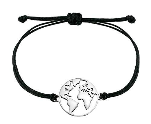 Nuoli® Armband Weltkugel Silber (deutsche Handarbeit) Welt Armbändchen für Frauen