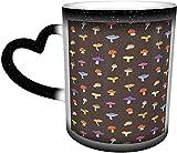 Tazza che cambia colore Husky nel cielo Tazze sensibili al calore in ceramica Tazza di scolorimento Tazze di caffè d'acqua Magia Arte divertente Regali personalizzati per gli amant
