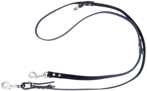 Heim 6412895D Vorführleine aus Leder, 3-fach verstellbar, 20 mm breit, 220 cm lang, braun
