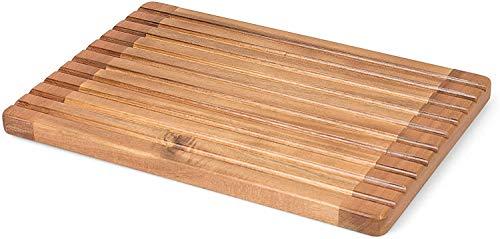 Rustler 2-in-1 Brotschneidebrett mit Krümelrillen/gitter mit Saftrinne, braun, Maße: 37 x 25 x 2,1 cm
