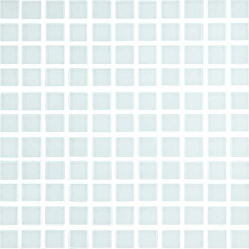 ガラスモザイク タイル モザイクタイル ガラス シート 裏ネット貼り カラーズガラス ホワイト カラー 白 25mm角 1シート