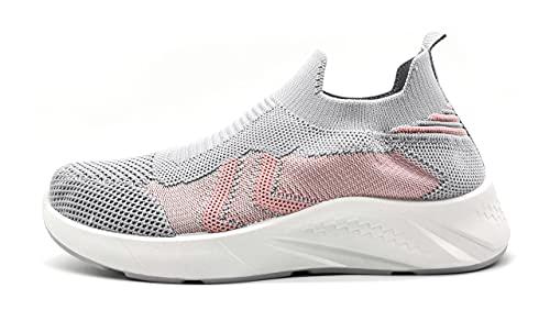 Zapatillas Deportivas para Mujer sin Cordones con Plantilla Soft Foam Insole Muy Transpirables 6766 Gris 39