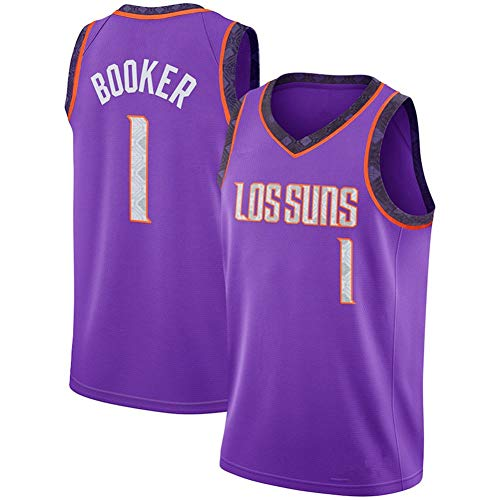 NBA Phoenix Suns #1 Devin Booker Camiseta de Malla Baloncesto Jersey Ropa Deportiva, Chaleco Deportivo Bordado sin Mangas Top Ligero Transpirable,Púrpura,XXL