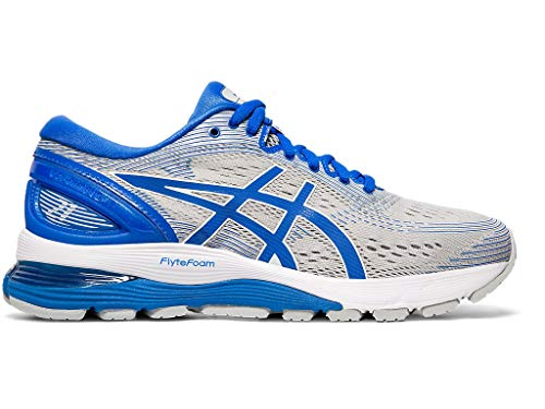ASICS Women's Gel-Nimbus 21 Lite-Show Running Shoes, 6M, MID Grey/Illusion Blue