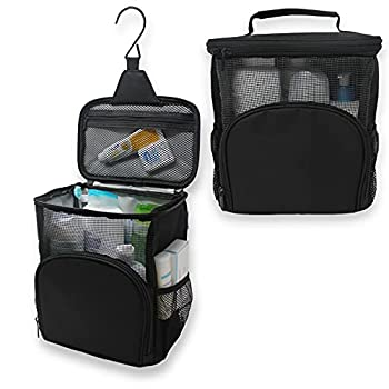 TERRA HOME Portable Shower Caddy Dorm - Large Capacity Quick Dry with Metal Hook - Hanging Shower Bag - Breathable Mesh Toiletry Shower Tote for Gym and College Dorm  Black
