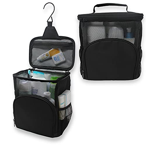 TERRA HOME Portable Shower Caddy Dorm - Large Capacity, Quick Dry with Metal Hook - Hanging Shower Bag - Breathable Mesh Toiletry Shower Tote for Gym and College Dorm (Black)