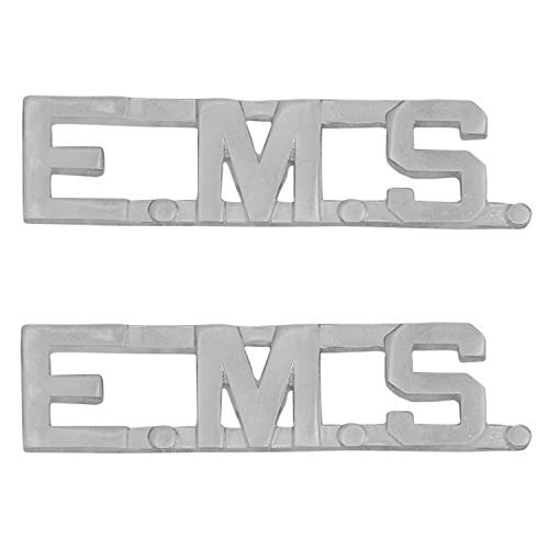 Smith & Warren 1/2' E.M.S Letter Collar Brass Rank Insignia Silver Finish Emergency Medical Service Uniform Pin