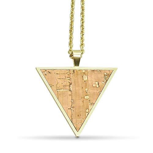 KAALEE® Triangle Halskette Gold Kork (64cm)   Naturegold Natur Beige Braun   Vergoldet Nickelfrei   Damen Kette mit Anhänger Dreieck Holz - Made in Germany - inkl nachhaltiger Geschenk Box