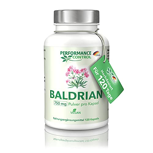 Performance Control Baldrian - 750 mg Baldrianpulver/ Kapsel - 120 Kapseln für 4 Monate - Vegan - Made in Germany